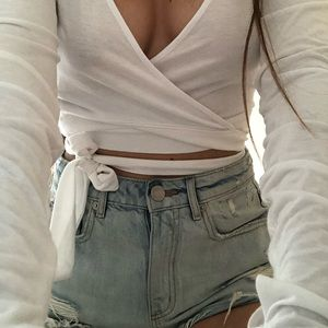 """""""Forever 21"""" Tie Up White Long Sleeve Top"""
